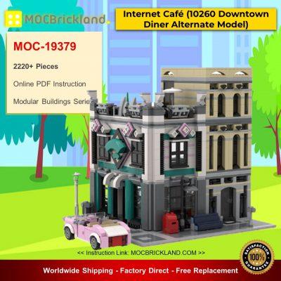 MOC-19379 Modular Building Internet Café (10260 Downtown Diner Alternate Model Modular) Designed By Huaojozu With 2220 Pieces