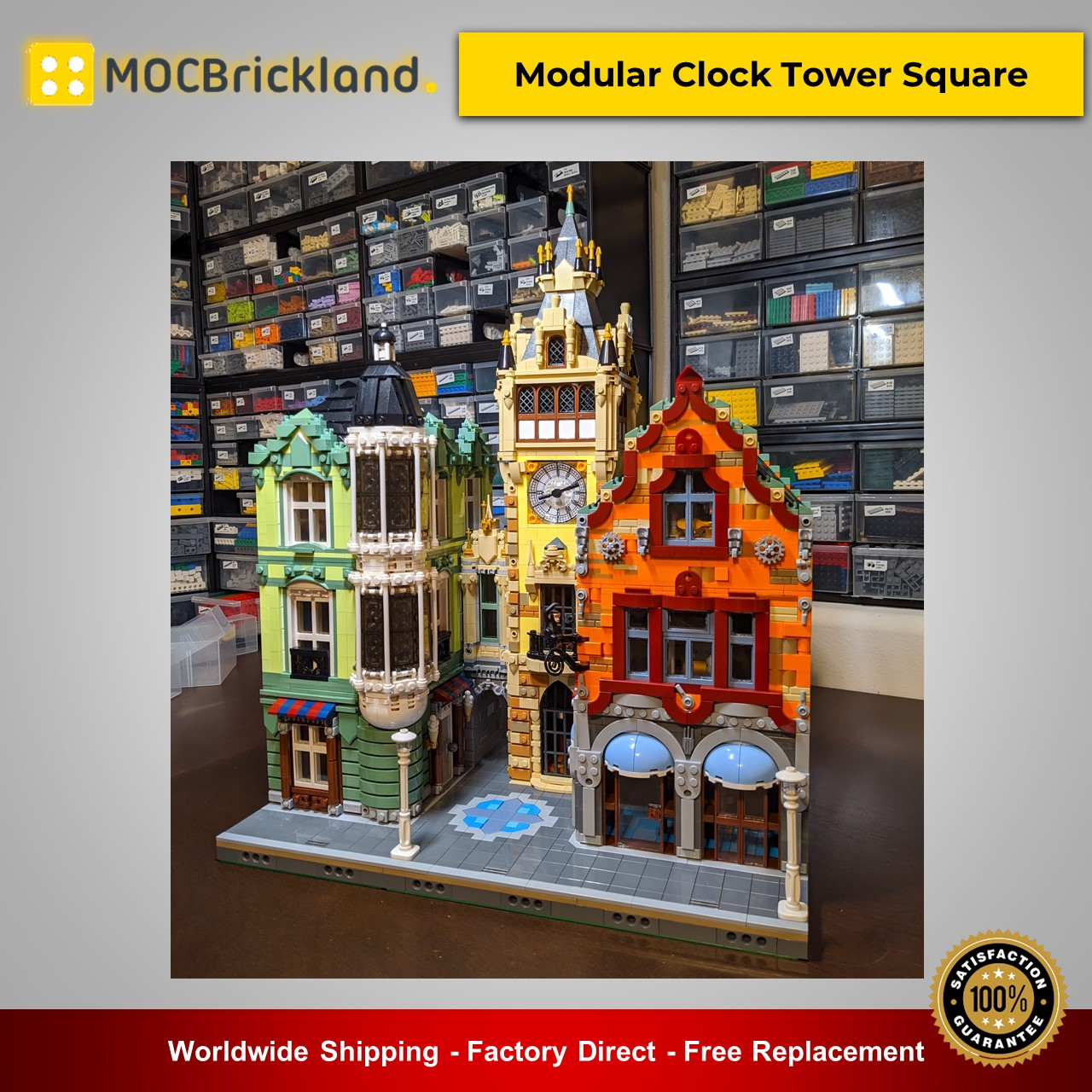 MOC-21266 Modular Clock Tower Square Modular Buildings Designed By bricksandtiles With 6800 Pieces