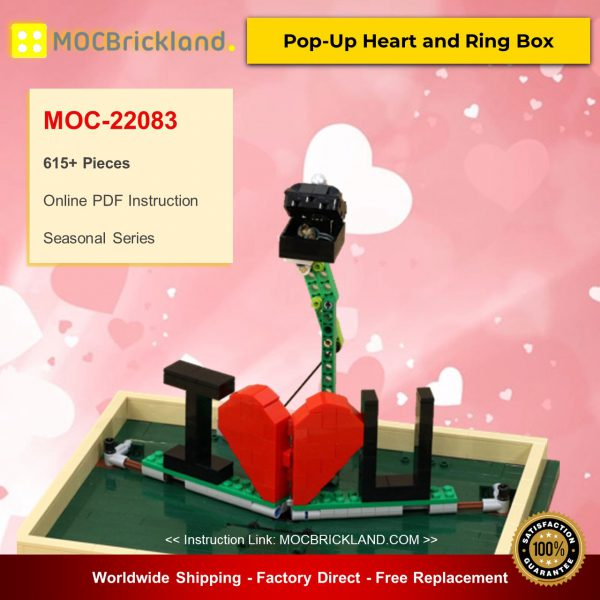 MOC-22083 Pop-Up Heart and Ring Box Valentine Designed By JKBrickworks With 253 Pieces