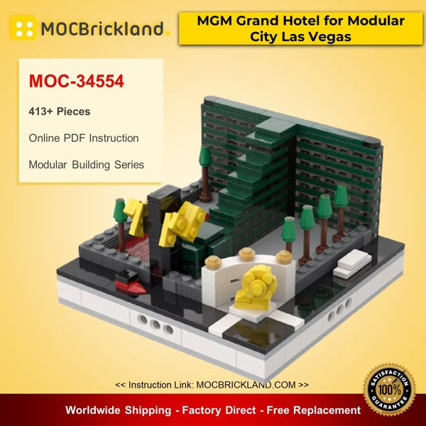 MOC-34554 Modular Buildings MGM Grand Hotel for Modular City Las Vegas Designed By gabizon With 413 Pieces