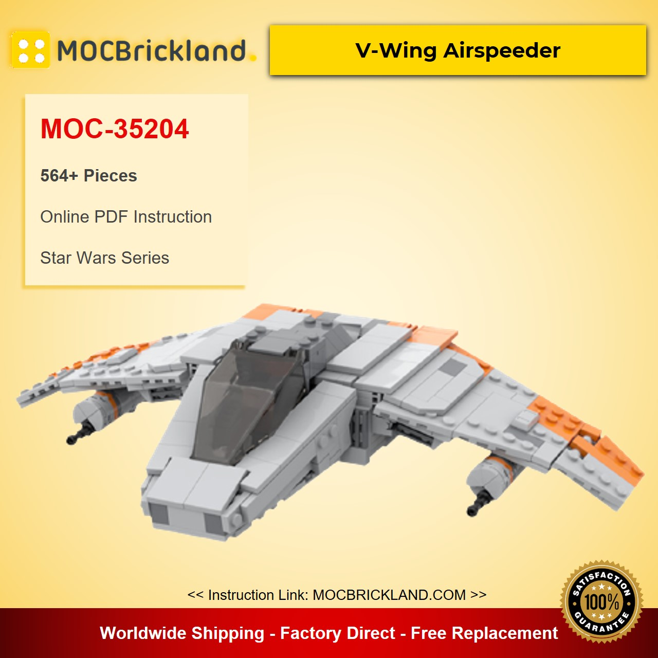 V-Wing Airspeeder MOC-35204 Star Wars Designed By LegoJLenny With 564 Pieces