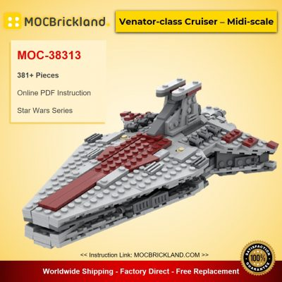 Venator-class Cruiser – Midi-scale MOC-38313 Star Wars Designed By Bad_to_the_Brick With 381 Pieces