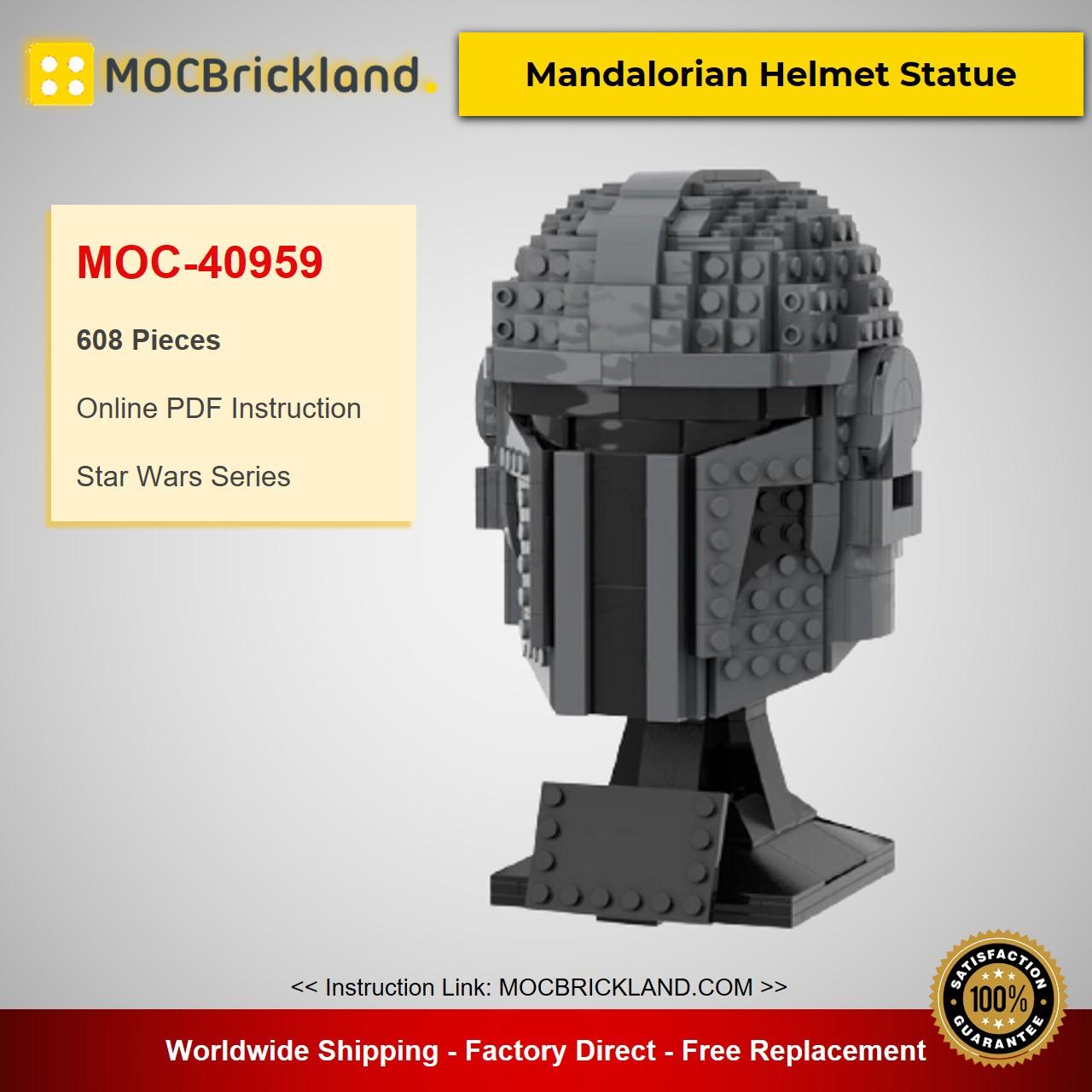 MOC-40959 Star Wars Mandalorian Helmet Statue Designed By zonilug With 608 Pieces