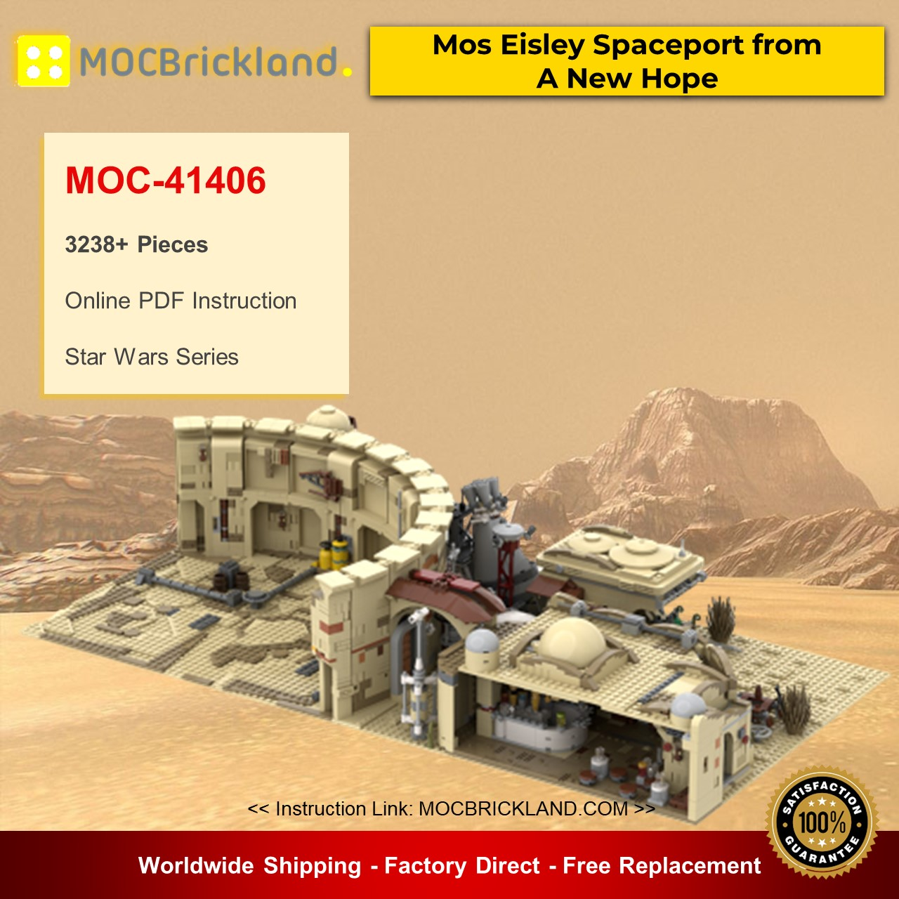 Mos Eisley Spaceport from A New Hope MOC-41406 Star Wars Designed By ZeRadman With 3238 Pieces