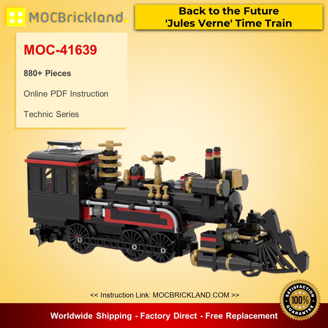 MOC-41639 Back to the Future 'Jules Verne' Time Train Technic Designed By mkibs With 880 Pieces