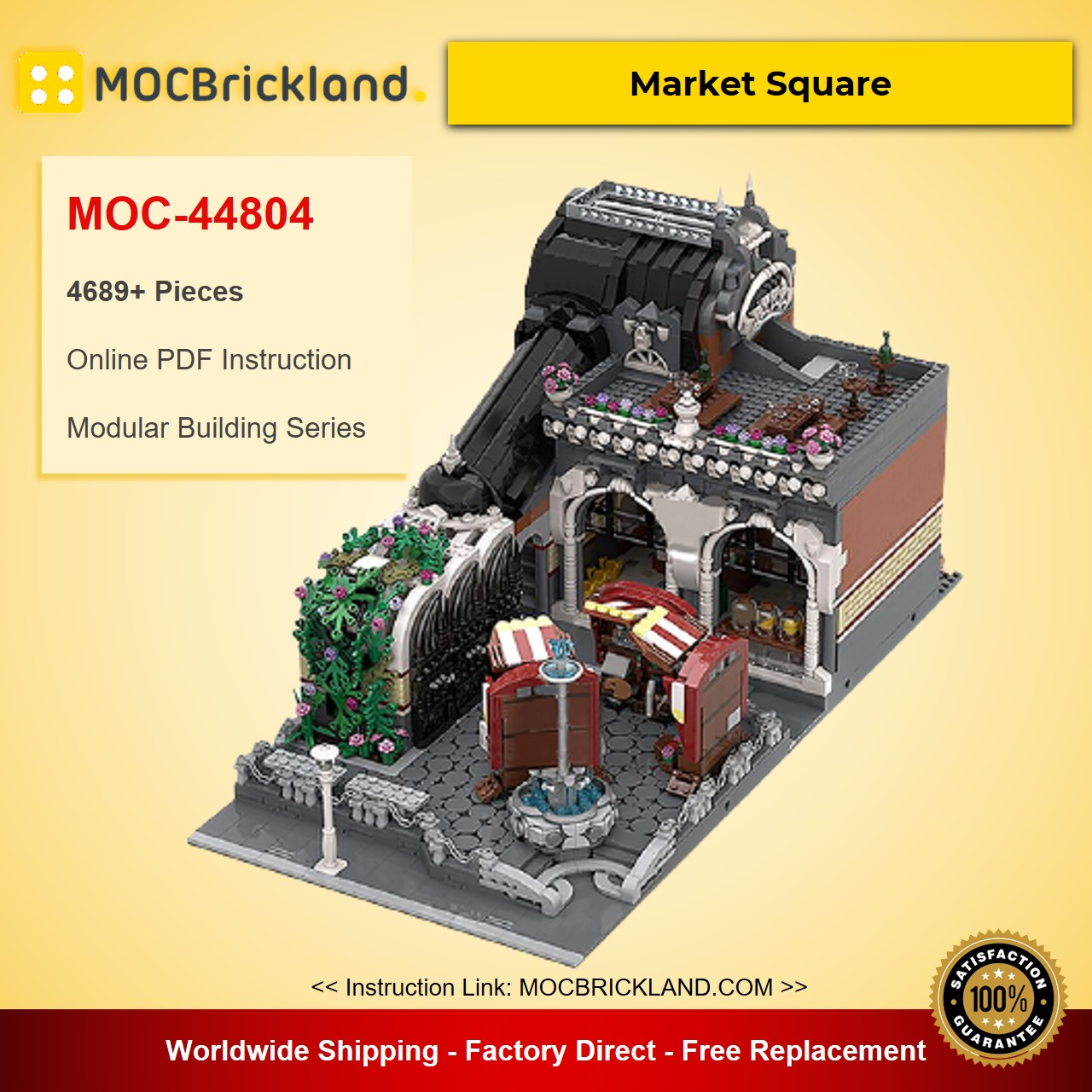 Market Square MOC-44804 Modular Building Designed By Black-Mantled Builder With 4689 Pieces