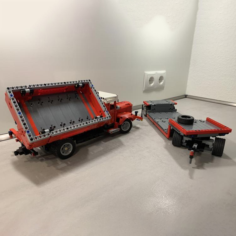 """Side Dumper Truck with Low Loader Trailer """"Büssing"""" ( 42098 C-Model) Technic MOC-47757 by time-hh with 1210 pieces"""