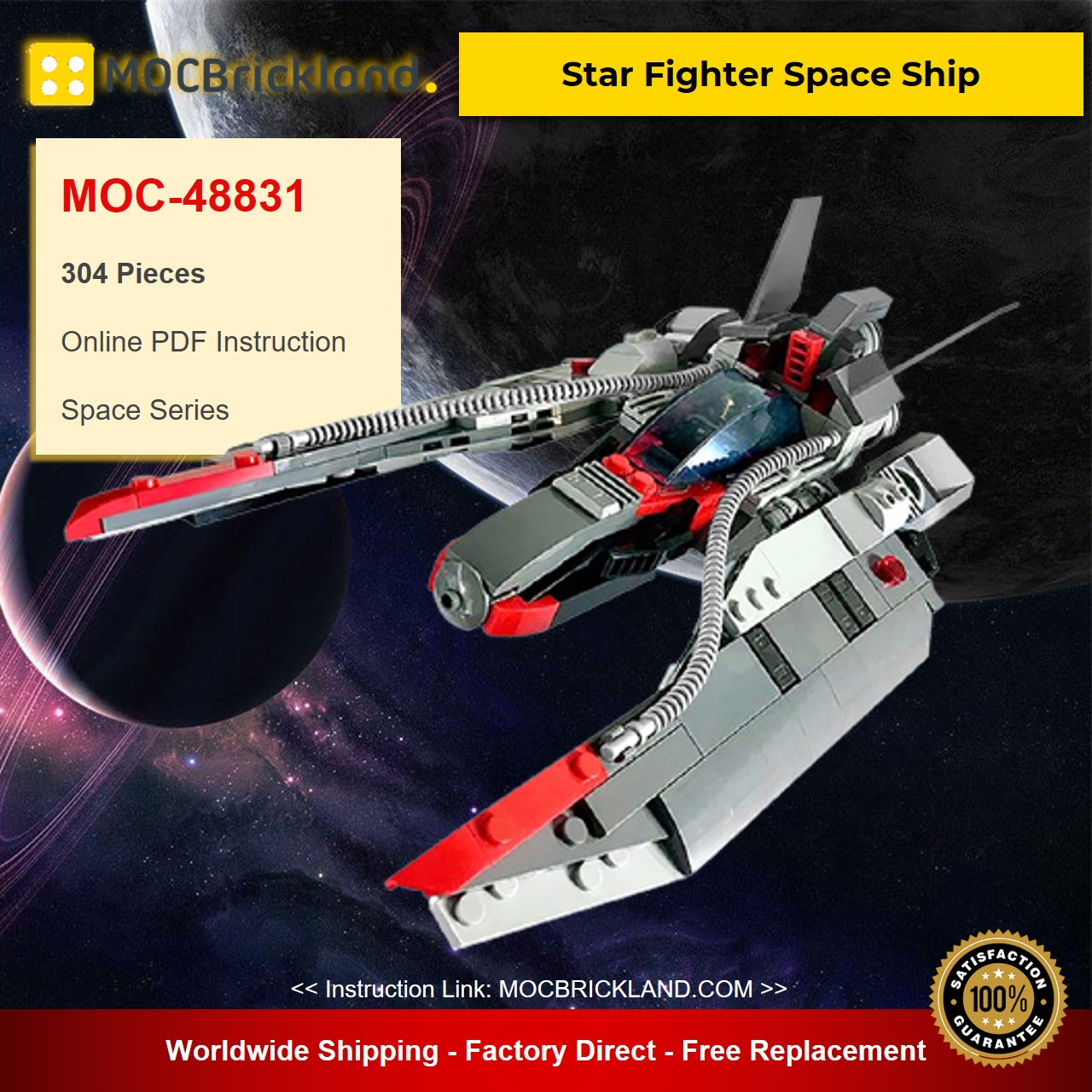 Star Fighter Space Ship MOC-48831 Space Designed By MadMocs With 304 Pieces