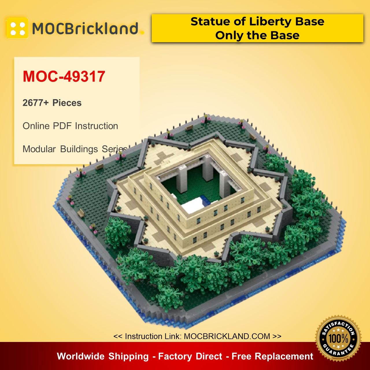 MOC-49317 Modular Buildings Statue of Liberty Base – Only the Base Designed By adambetts With 2677 Pieces