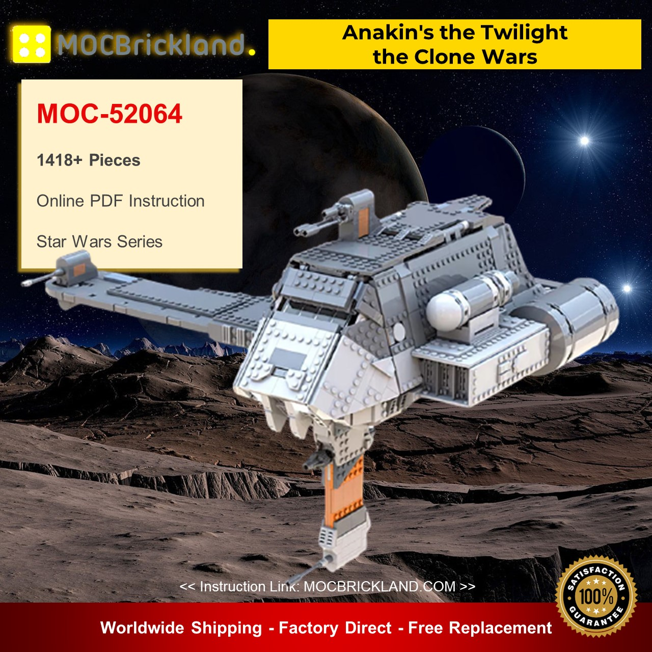 MOC-52064 Star Wars Anakin's the Twilight – the Clone Wars Designed By Bruxxy 1418 Pieces