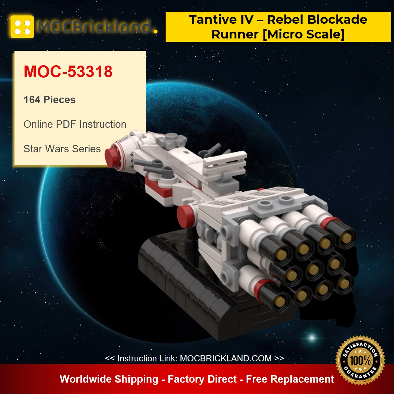 MOC-53318 Star Wars Tantive IV – Rebel Blockade Runner [Micro Scale] Designed By Xigphir With 164 Pieces