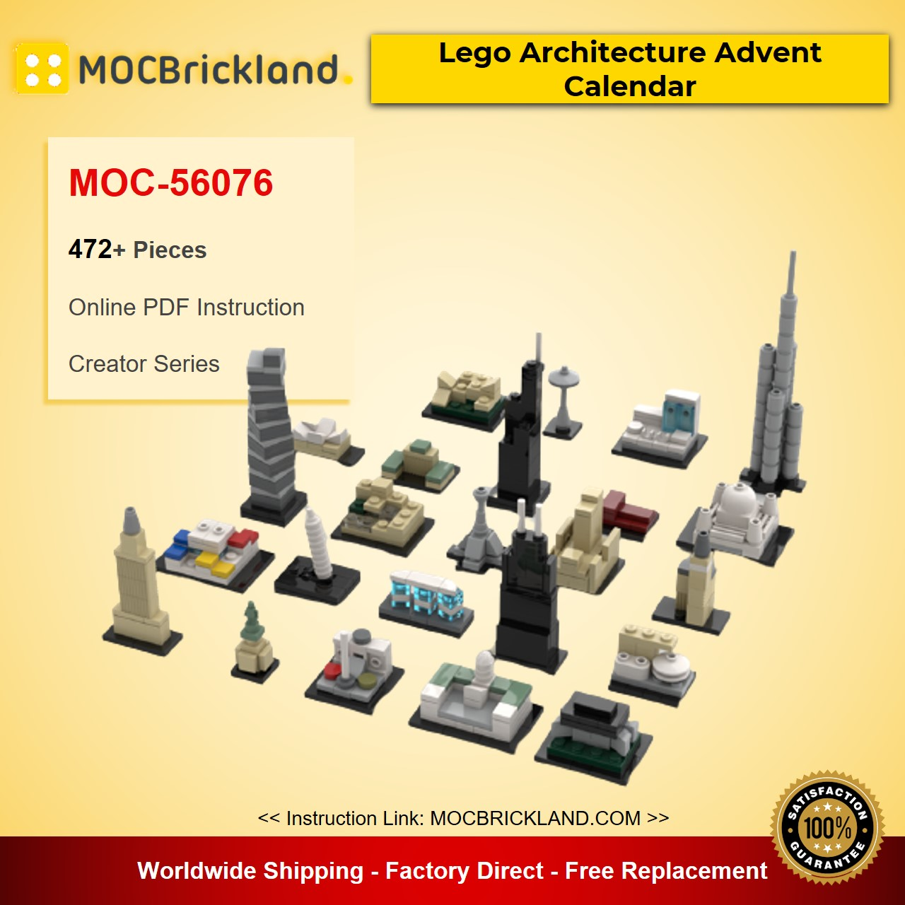 Lego Architecture Advent Calendar MOC-56076 Creator Designed By klosspalatset With 472 Pieces