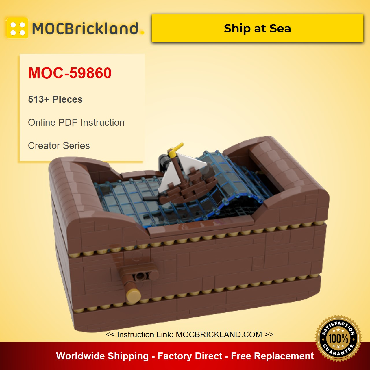 Ship at Sea MOC-59860 Creator Designed By Planet GBC With 513 Pieces