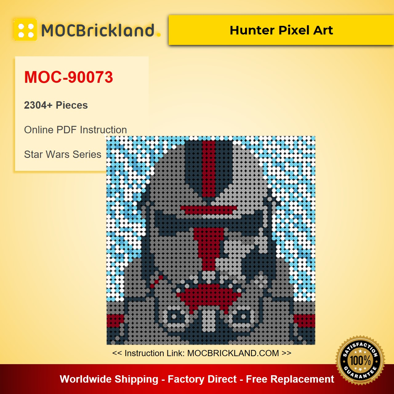Hunter Pixel Art MOC-90073 Star Wars With 2304 Pieces