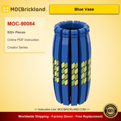 Blue, Black and White Vase Compatible with LEGO Flower Bouquet 10280, 40461 and 40460 MOC-90084-90085-90086 Creator With 532 Pieces