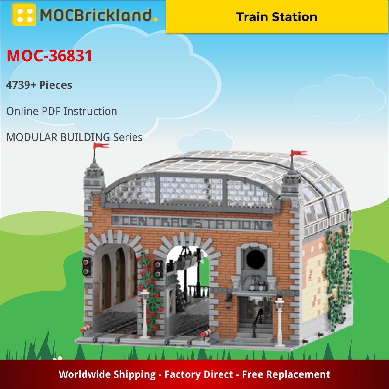 Train Station MODULAR BUILDING MOC-36831 by Steinekonig WITH 4739 PIECES