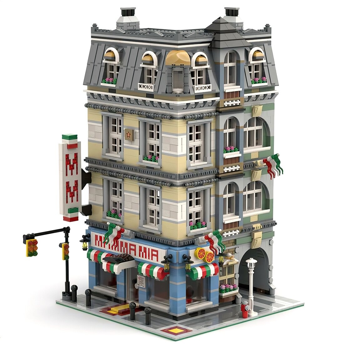 Mamma Mia Pizzeria M1 MODULAR BUILDING MOC-39491 by Magdatoys WITH 4449 PIECES