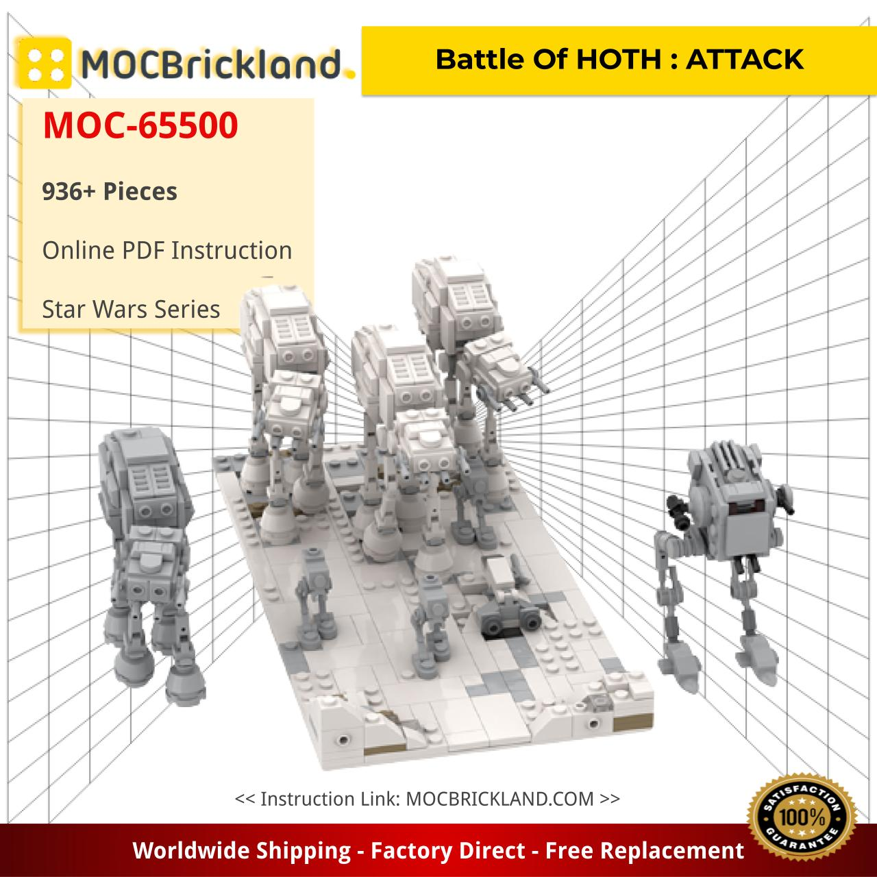 Battle Of HOTH : ATTACK Star Wars MOC-65500 by jellco WITH 936 PIECES