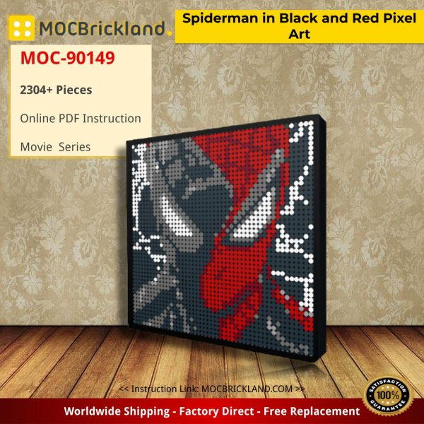 Spiderman in Black and Red Pixel Art Movie MOC-90149 WITH 2304 PIECES