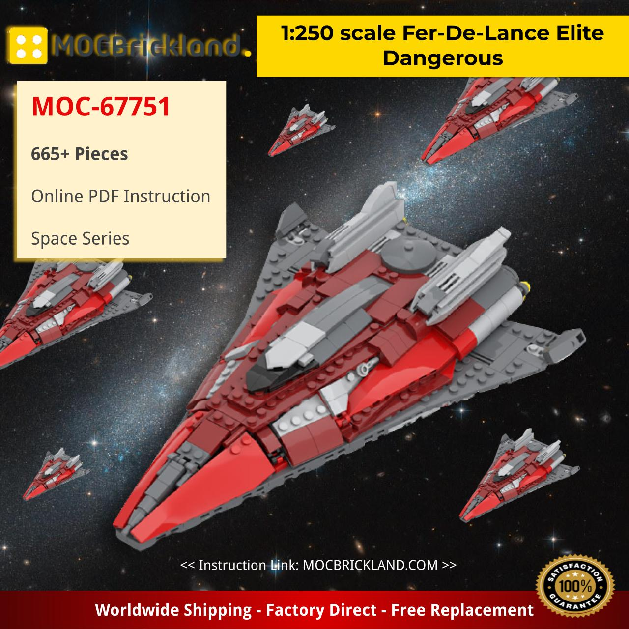 1:250 scale Fer-De-Lance Elite Dangerous Space MOC-67751 by TheRealBeef1213 WITH 665 PIECES
