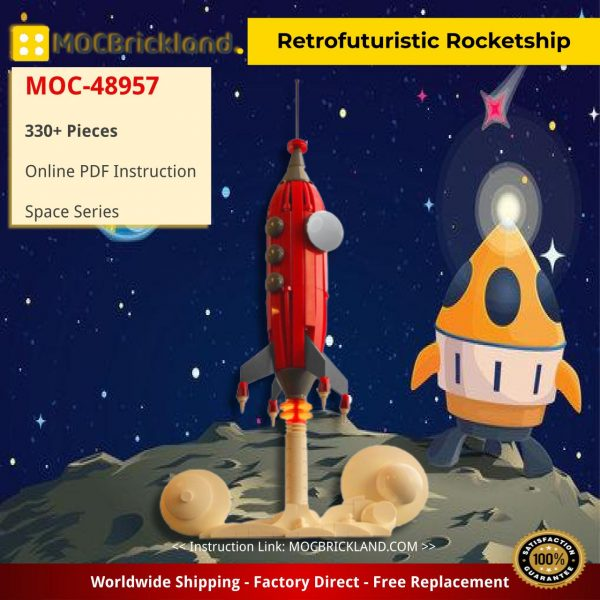 Retrofuturistic Rocketship Space MOC-48957 by TheCorollaGuy WITH 330 PIECES