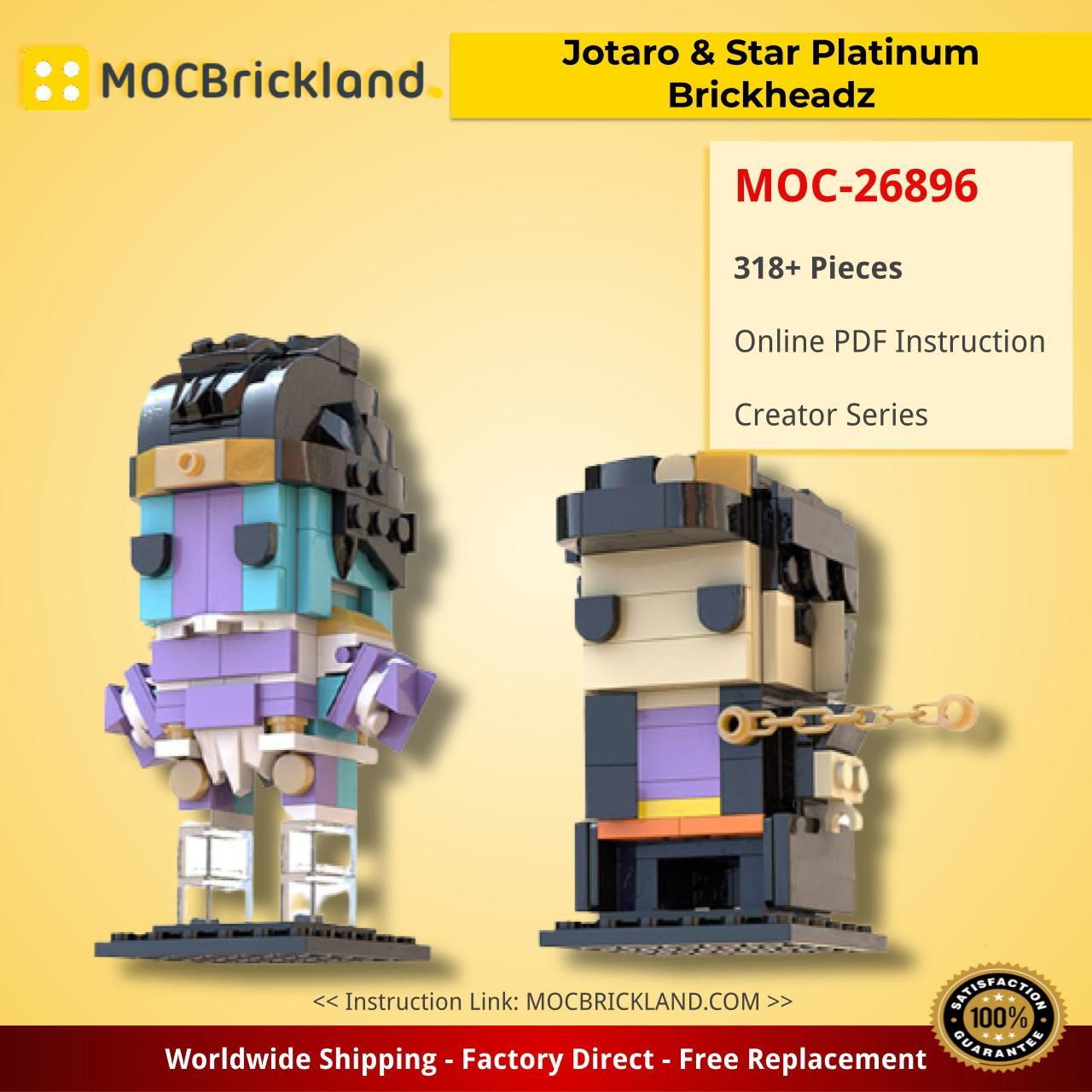 Jotaro & Star Platinum Brickheadz (JoJo's Bizarre Adventure) Creator MOC-26896 by Cryokina WITH 318 PIECES
