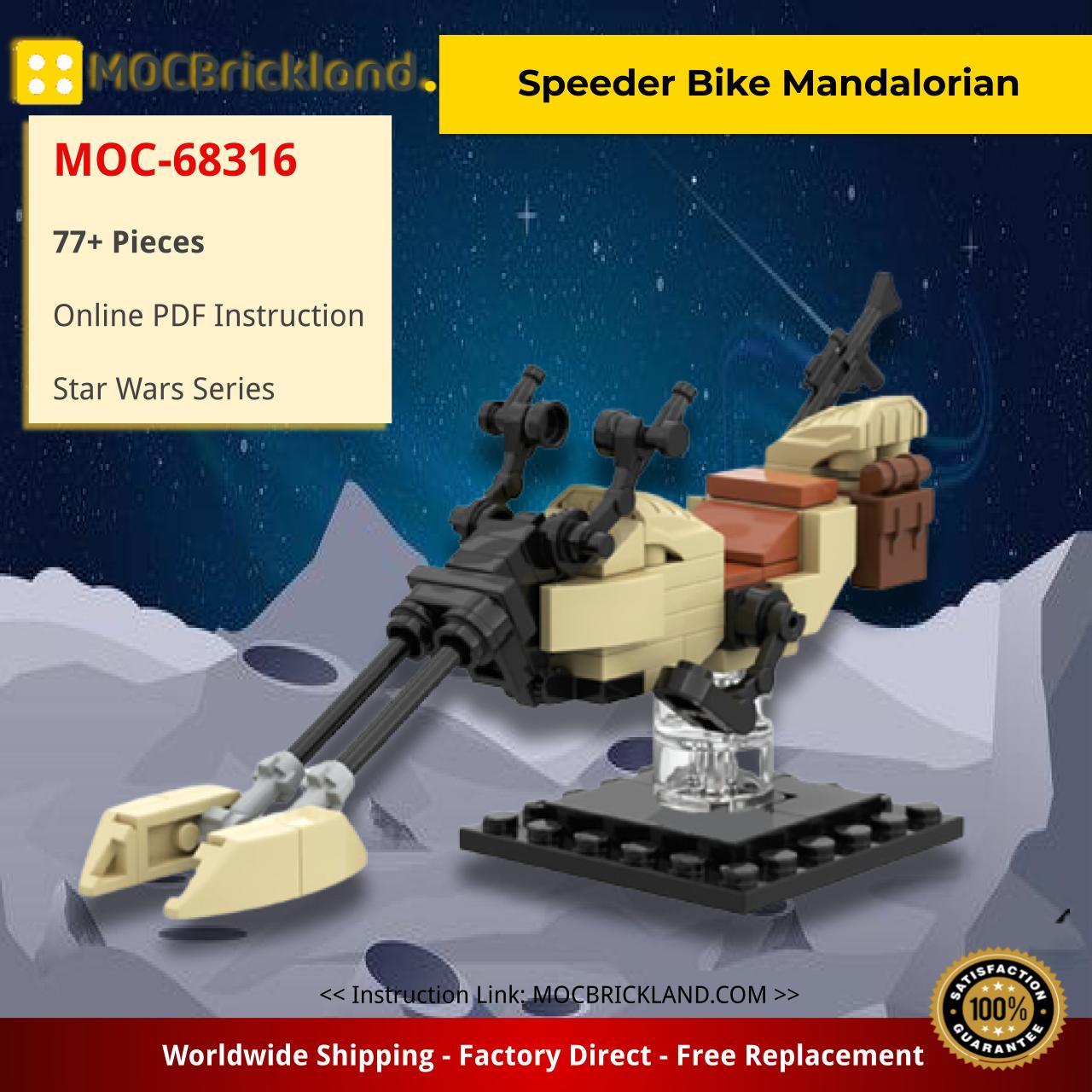 Speeder Bike Mandalorian Star Wars MOC-68316 by Headsbrick WITH 77 PIECES