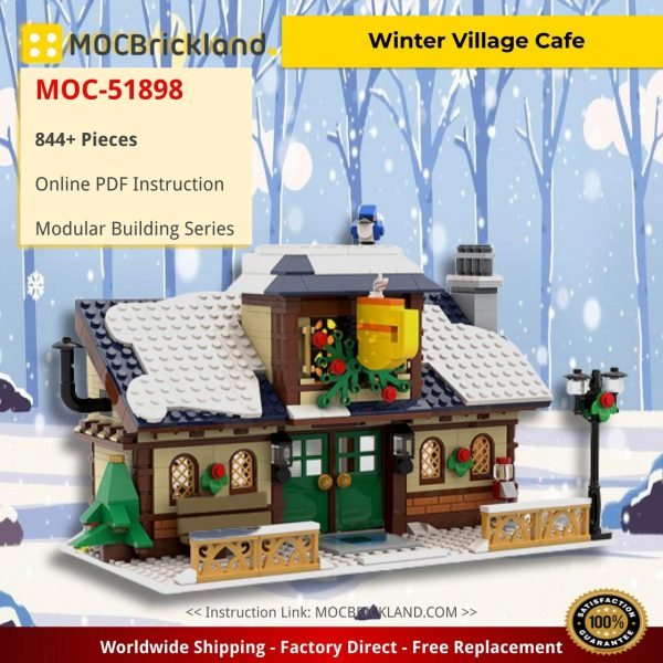 Winter Village Cafe Modular Building MOC-51898 by brick_monster WITH 844 PIECES