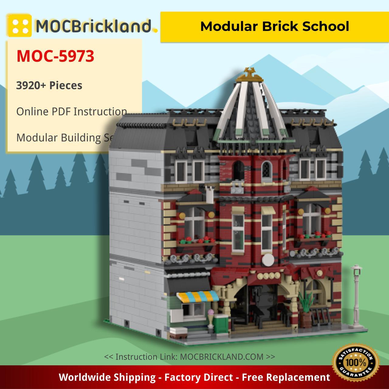 Modular Brick School Modular Buildings MOC-5973 by hermez WITH 3920 PIECES