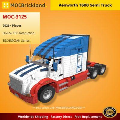 Kenworth T680 Semi Truck TECHNICIAN MOC-3125 by Motomatt with 2025 pieces