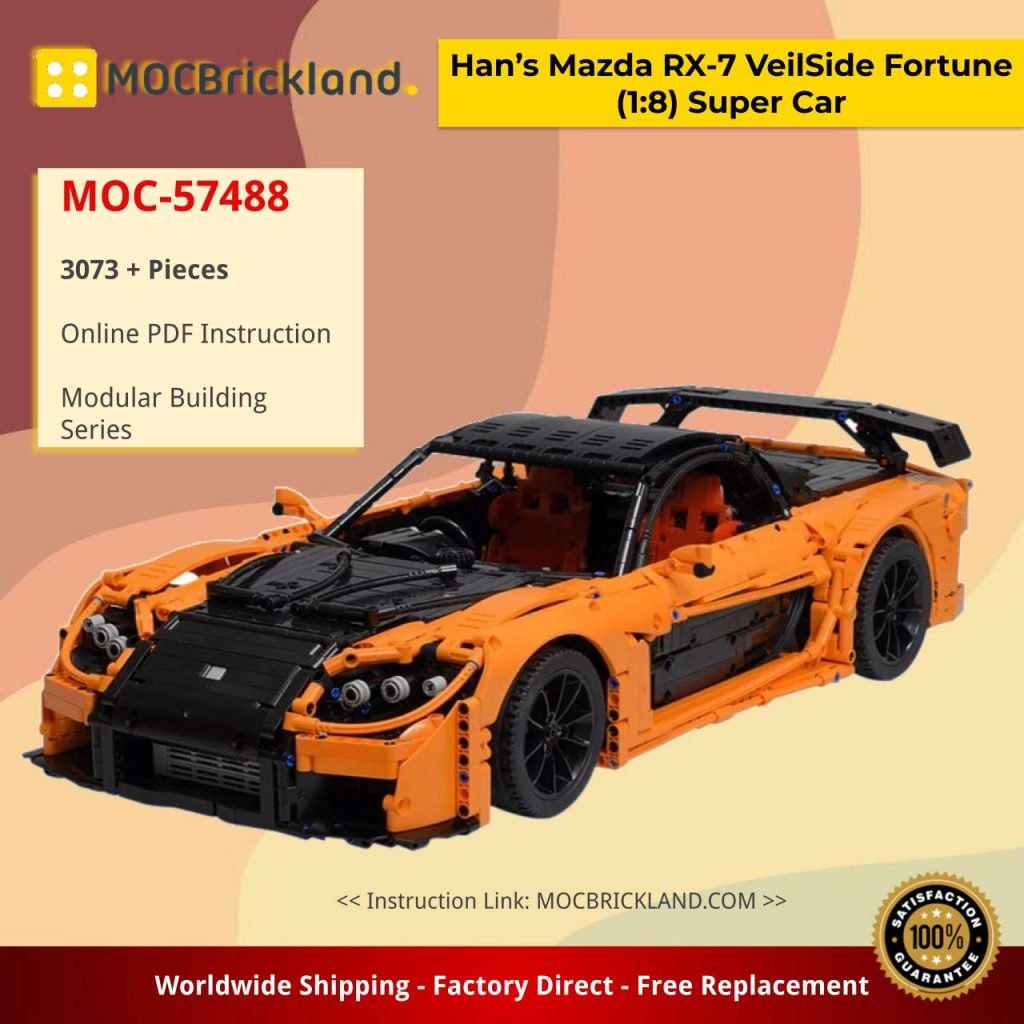 Han's Mazda RX-7 VeilSide Fortune (1:8) Super Car MOC-57488 by Artemy Zotov with 3073 Pieces