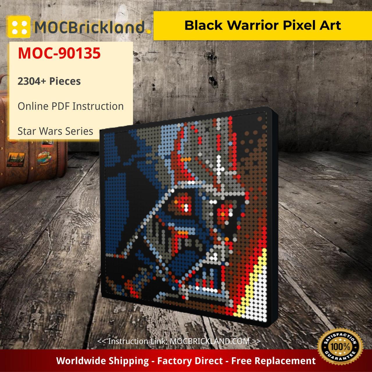 Black Warrior Pixel Art Star Wars MOC-90135 with 2304 pieces