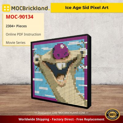 Ice Age Sid Pixel Art Movie MOC-90134 with 2304 pieces