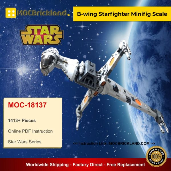B-wing Starfighter Minifig Scale MOC 18137 Star Wars Designed By Brickvault With 1413 Pieces