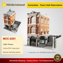 Consulate - Town Hall Alternative MOC 0201 Modular Building Compatible With LEGO 10224 By Brickcitydepot