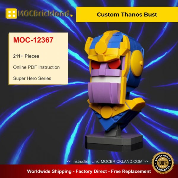 Custom Thanos Bust MOC 12367 Super Hero Designed By Buildbetterbricks With 211 Pieces