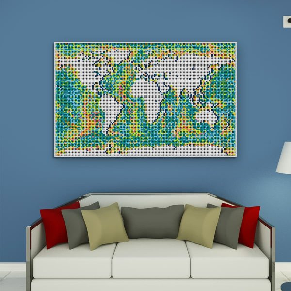 World Map Pixel Art Creator MOC-90172 WITH 11312 PIECES